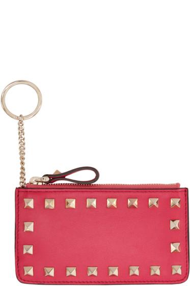Valentino - Pink Leather Rockstud Pouch Keychain