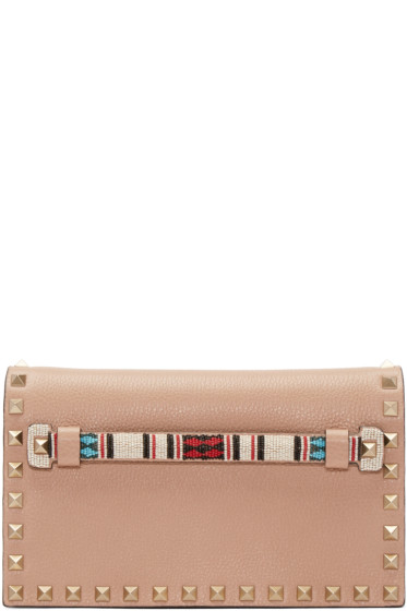 Valentino - Brown Beaded Rockstud Clutch