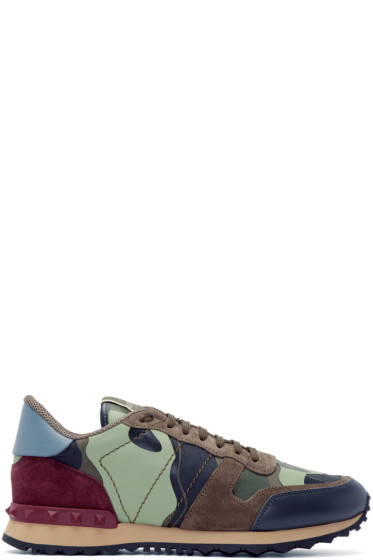 Valentino - Green & Burgundy Camouflage Sneakers