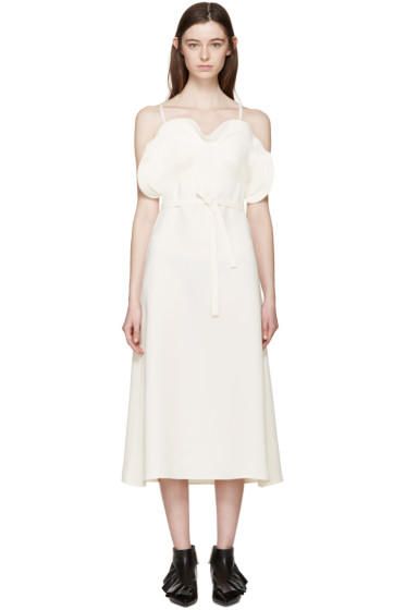 J.W.Anderson - Ecru Crepe Ruffled Dress