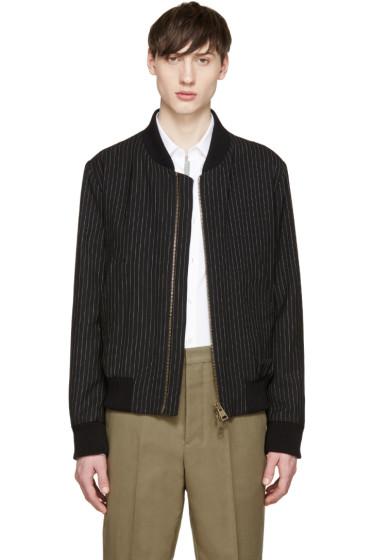 AMI Alexandre Mattiussi - Black & White Pinstripe Bomber Jacket