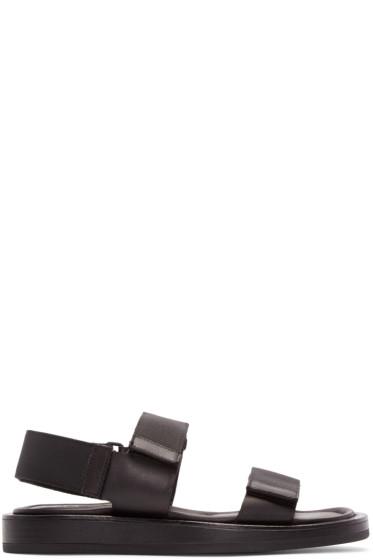 Calvin Klein Collection - Black Leather Velcro Sandals