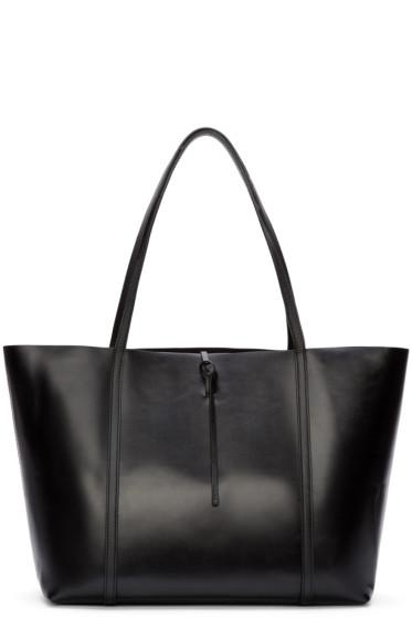 Kara - Black Polished Leather Tie Tote