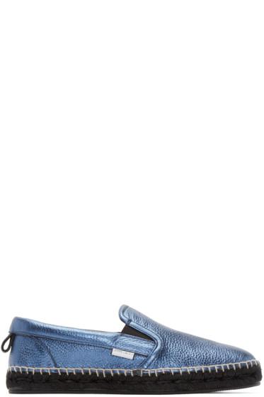 Jimmy Choo - Blue Leather Metallic Vlad Espadrilles