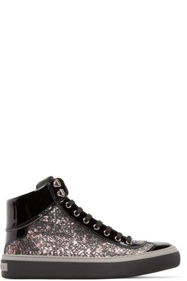 Jimmy Choo - Black Elaphe Argyle High-Top Sneakers