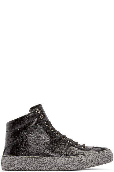 Jimmy Choo - Black Embossed Belgravi High-Top Sneakers