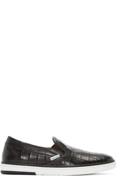 Jimmy Choo - Black Croc Grove Slip-On Sneakers