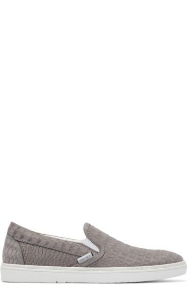 Jimmy Choo - Grey Croc-Embossed Grove Slip-On Sneakers