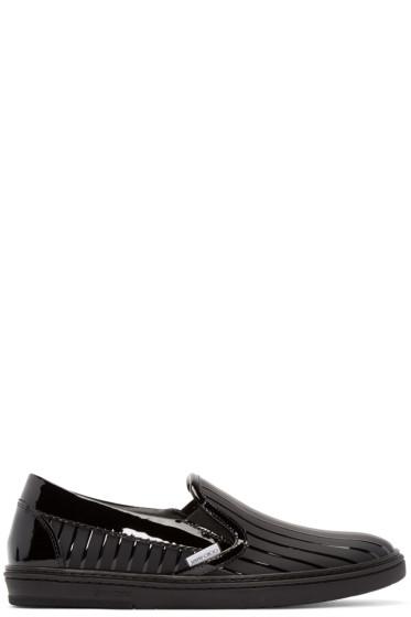 Jimmy Choo - Black Striped Grove Slip-On Sneakers
