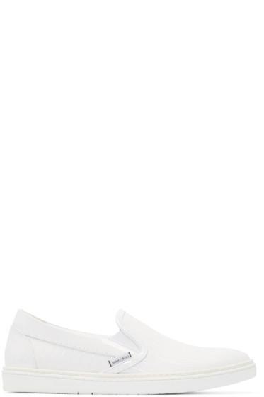 Jimmy Choo - White Paint Striped Grove Slip-On Sneakers