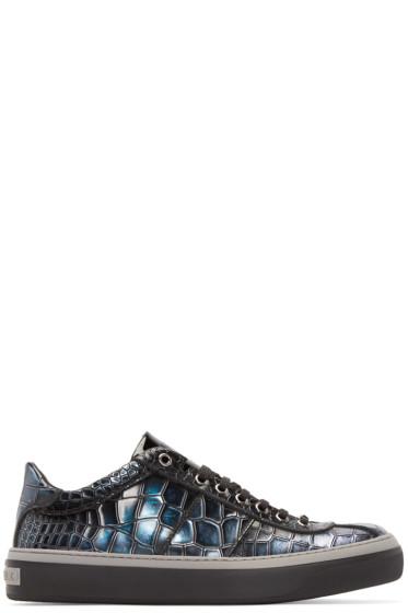 Jimmy Choo - Blue Croc-Embossed Portman Sneakers