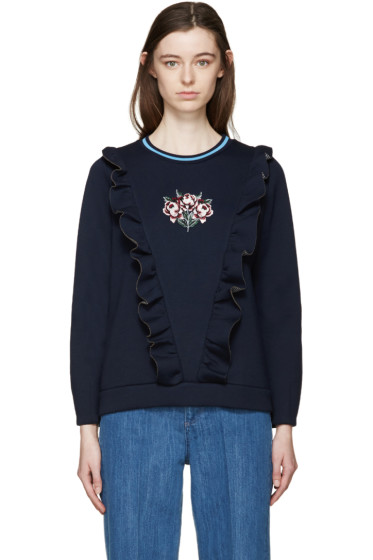 Mother of Pearl - Navy Bonded Jersey Daisy Pullover