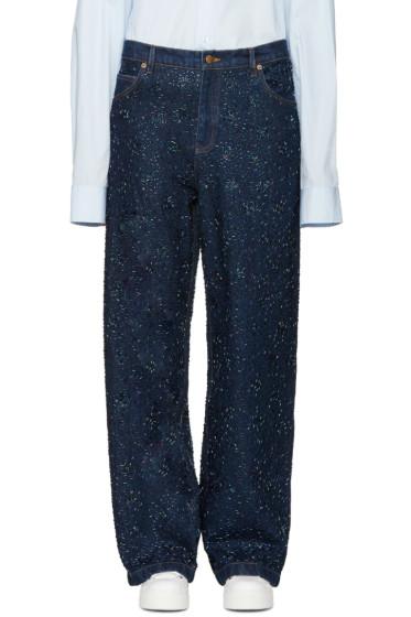 Ashish - SSENSE Exclusive Indigo Beaded Jeans