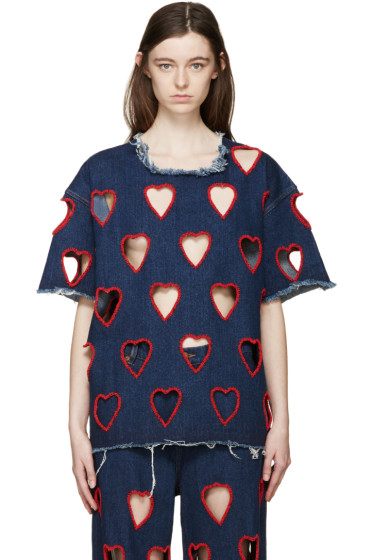 Ashish - Indigo Denim Cut Out Heart T-Shirt