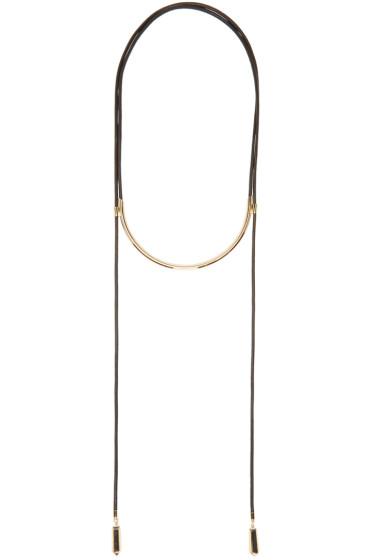 Isabel Marant - Black & Gold Leather Krishna Necklace