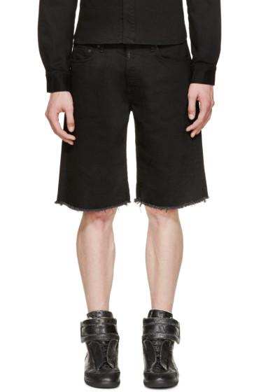 Off-White - Black Frayed Denim Shorts