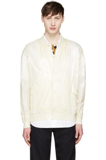Toga Virilis - Cream Nylon Bomber Jacket