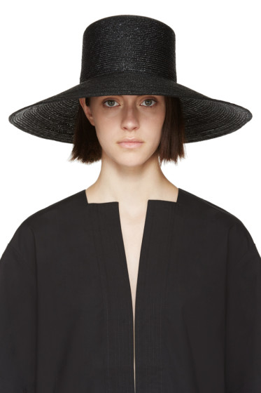 Clyde - Black Straw Wide Brim Neckshade Hat