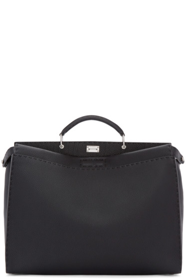 Fendi - Black Leather Small Peekaboo Tote