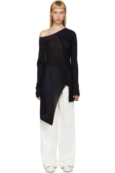 Marques Almeida - Navy Deconstructed Single-Shoulder Sweater