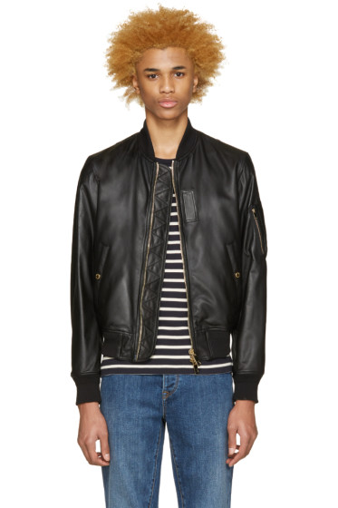 Burberry Brit - Black Leather Raleigh Bomber Jacket