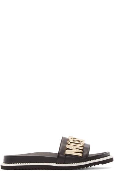 Moschino - Black Leather Logo Slide Sandals