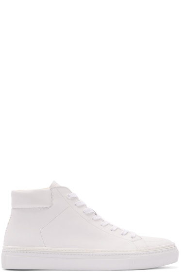 No.288 - White Leather Jersey High-Top Sneakers