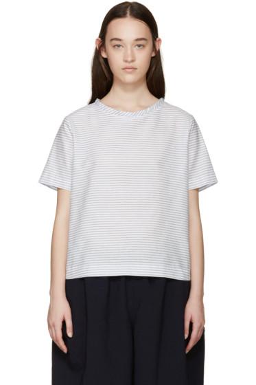Tricot Comme des Garçons - White & Blue Striped Top