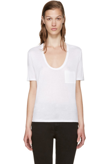 T by Alexander Wang - White Cropped Pocket T-Shirt