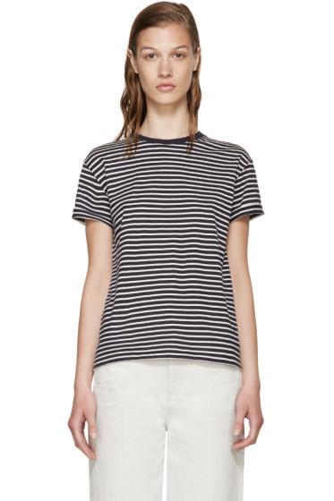 T by Alexander Wang - Navy & White T-Shirt