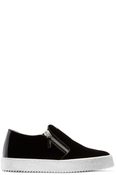 Giuseppe Zanotti - Black Velvet London Slip-On Sneakers