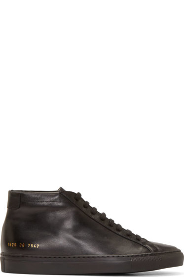 Common Projects - Black Original Achilles Mid-Top Sneakers