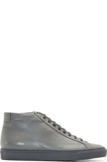 Common Projects - Grey Original Achilles Mid-Top Sneakers
