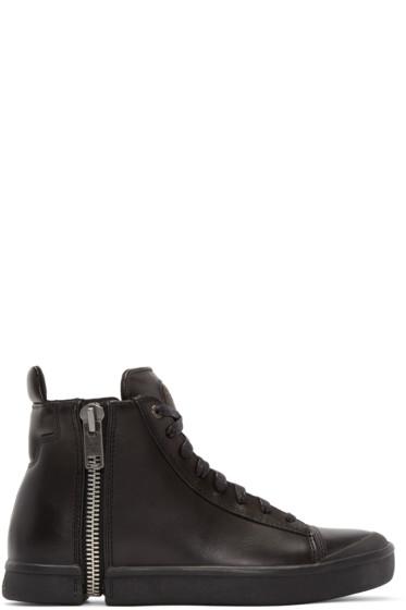 Diesel - Black Leather S-Nentish High-Top Sneakers