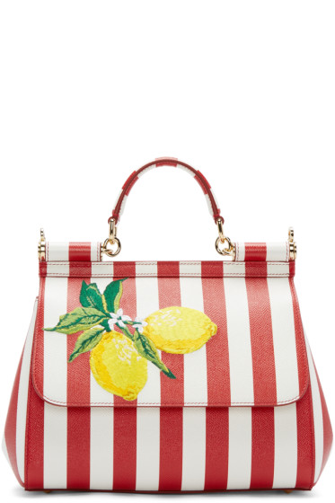 Dolce & Gabbana - Red & White Striped Lemons Medium Miss Sicily Bag