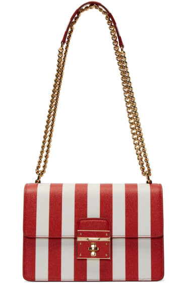 Dolce & Gabbana - Red & White Striped Rosalia Bag