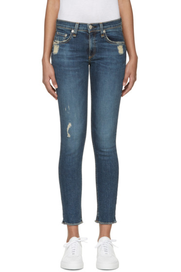 Rag & Bone - Blue Distressed Skinny Jeans
