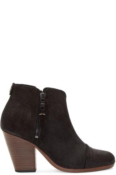 Rag & Bone - Black Suede Waxy Margot Boots