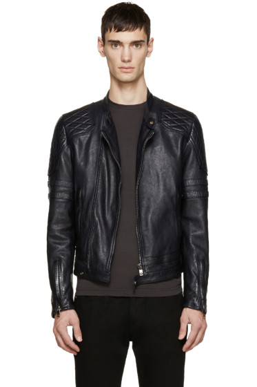 Diesel Black Gold - Navy Leather Biker Jacket