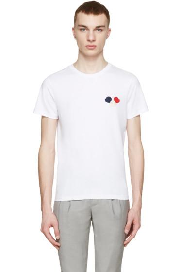 Moncler - White Tricolor Appliqué T-Shirt