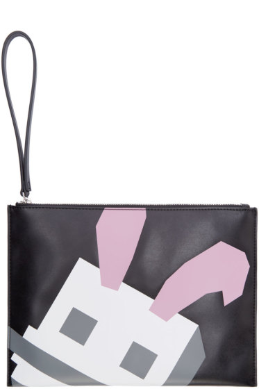 McQ Alexander Mcqueen - Black Leather Bunny Graphic Pouch