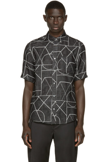 McQ Alexander Mcqueen - Black Printed Doublecloth Shirt