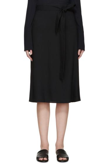 Helmut Lang - Navy Crepe Wrap Skirt