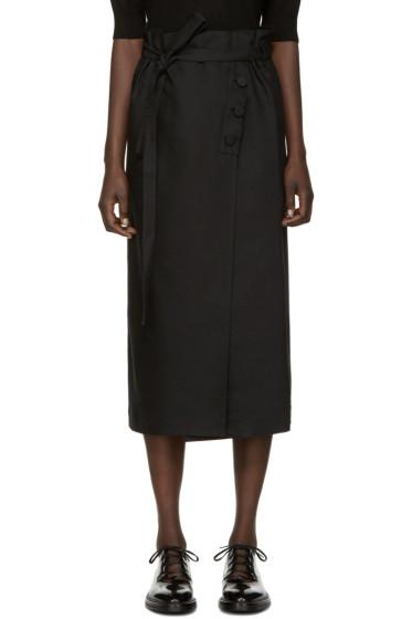 Helmut Lang - Black Linen Wrap Skirt