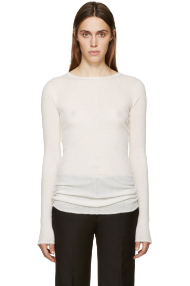 Helmut Lang - Ivory Ribbed Cashmere Pullover