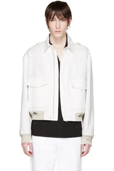 Maison Margiela - White Distressed Linen Jacket