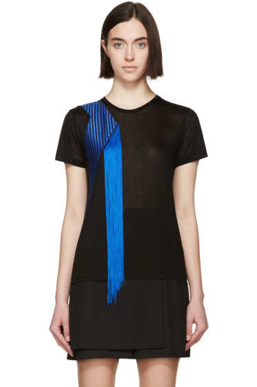 Christopher Kane - Black Jersey Fringe T-Shirt