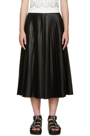 Alexander Wang - Black Pleated Faux-Leather Skirt