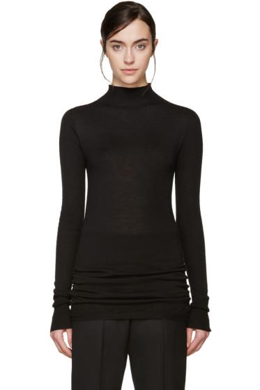 Rick Owens - Black Wool Lupetto Sweater