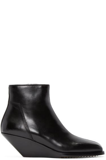 Rick Owens - Black Leather Sliver Boots